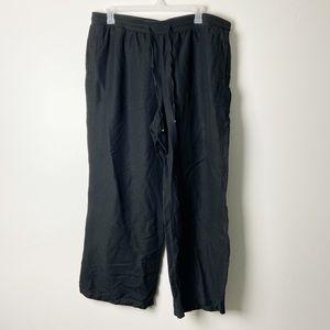 LANE BRYANT • Black Linen Blend Wide Leg Pants